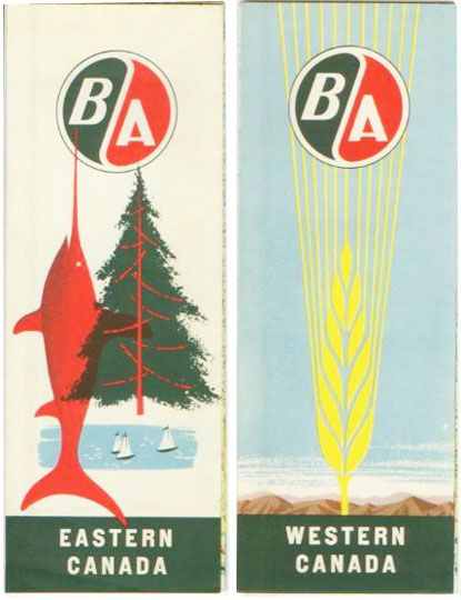 BA Canada Maps for eastern and western Canada. Via Canadian Design Resource.