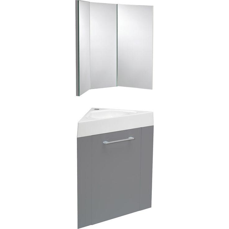 Meuble Lave Mains D Angle Avec Miroir Sensea Remix Gris Galet N 3 Meuble Lave Main Lave Main Meuble Salle De Bain Conforama