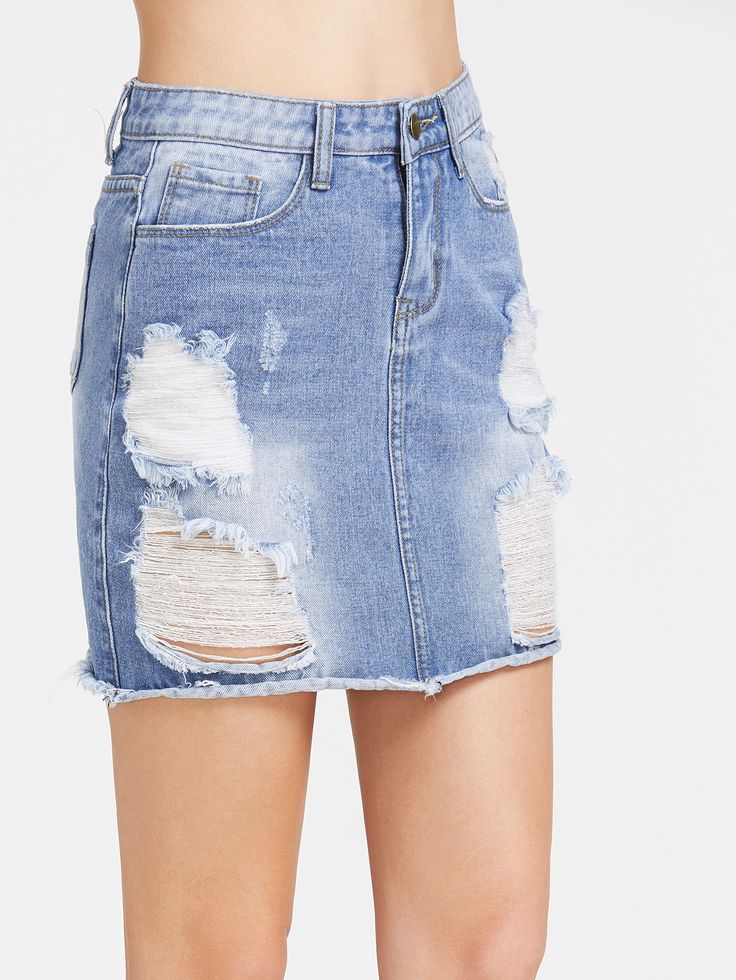 Shop Bleach Wash Distressed Denim Skirt online. SheIn offers Bleach Wash Distressed Denim Skirt & more to fit your fashionable needs.