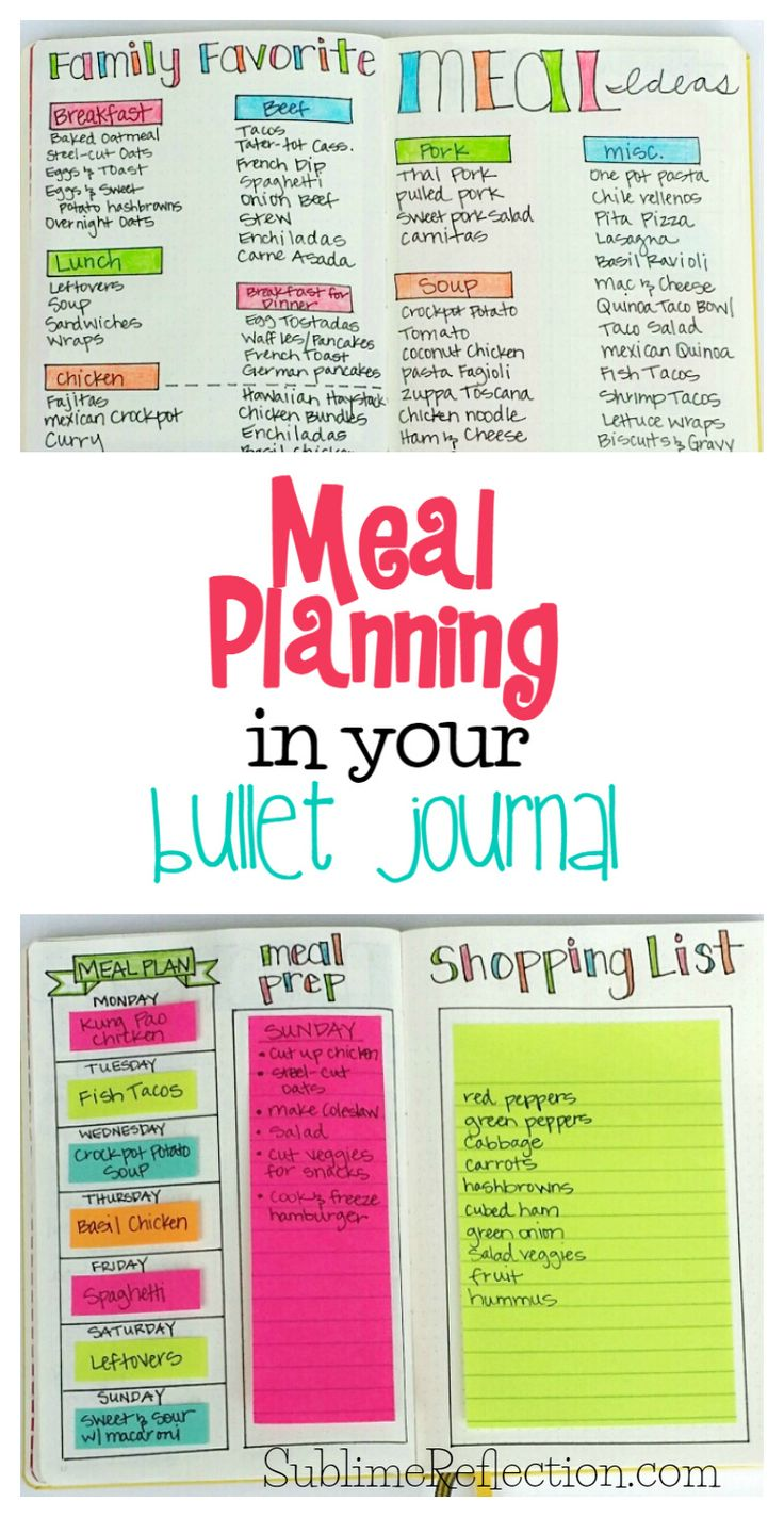 Come see how I use my Bullet Journal to make meal planning even easier! I'm also sharing my other favorite free meal planning tool and app! via @Sublime Reflection