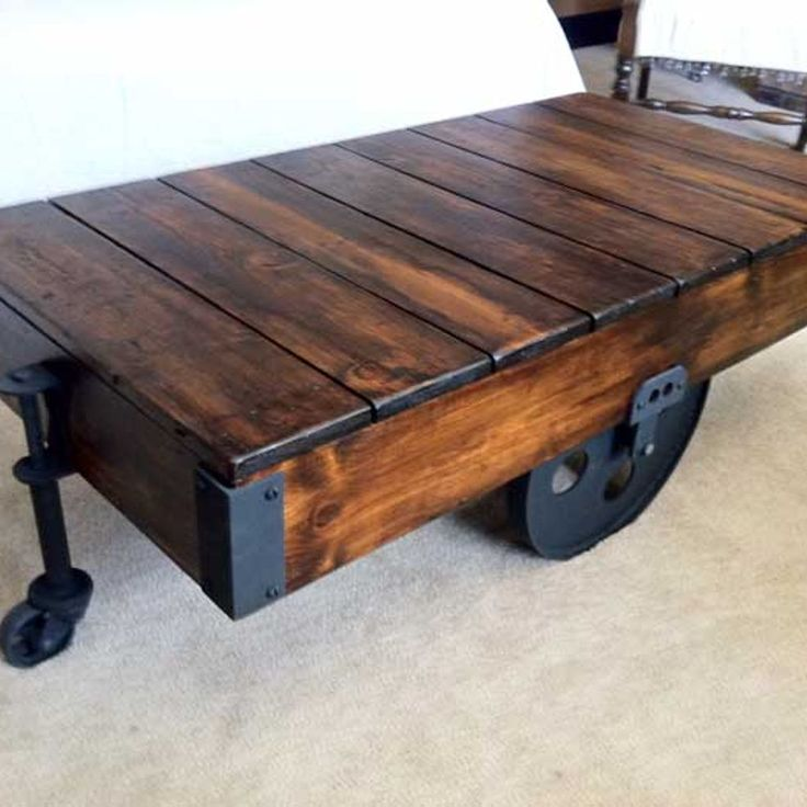 Awesome DIY Factory Cart Coffee Table