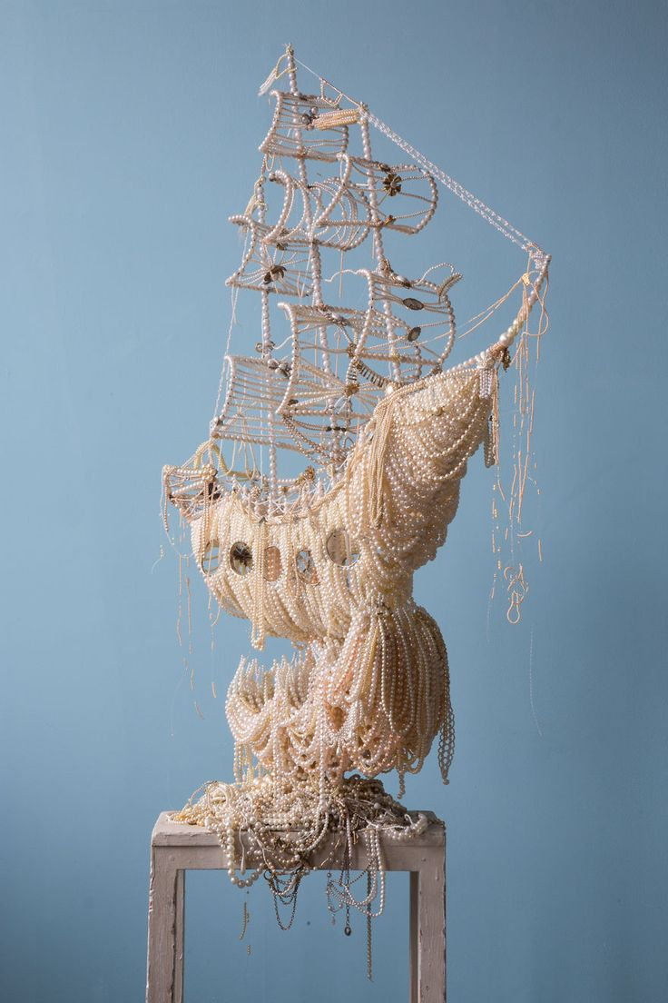 Two huge galleon ships from old pearl necklaces by Ann Carrington. This one is called Wing Wo Wave.
