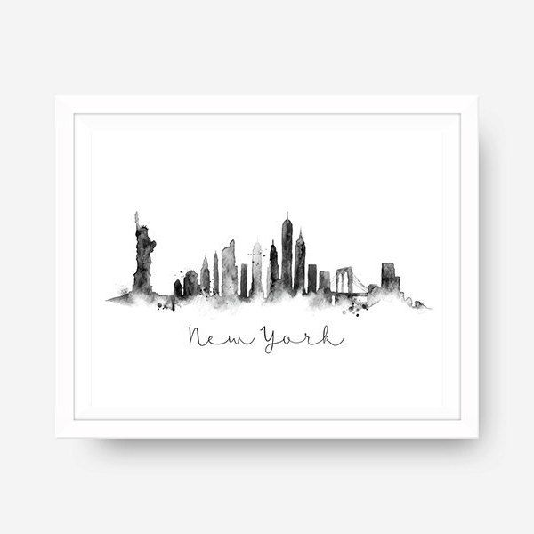 New York Skyline Black & White Splatter Watercolor Wall Art New York Theme Wall Art Travel Wall Art Skyline Print Paint Splatter Printable by blueelephantprints on Etsy