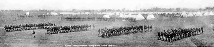 1898 -- Mineola -- Troops from the Fighting 69th Regiment drill at Camp Black headed to fight in the Spanish American War. Camp Black, just east of Mineola on the  Hempstead Plains at current site of Roosevelt Field.
