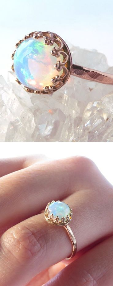 Opal Rose Gold Ring.Mehendi Mandala Art #MehendiMandalaArt #MehendiMandala @MehendiMandala