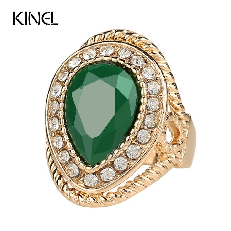 2015 New Fashion Wedding Ring   Gold Plated Green Stone Gift Crystal India Jewellery Wholesale