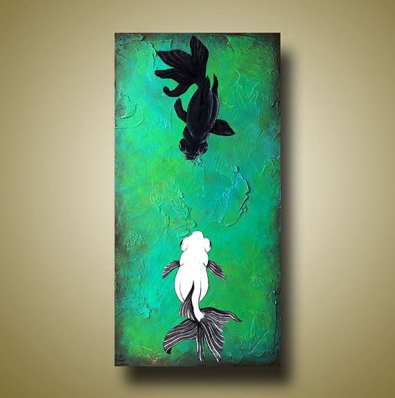 Black And White Fish Painting Bathroom Art Fish By