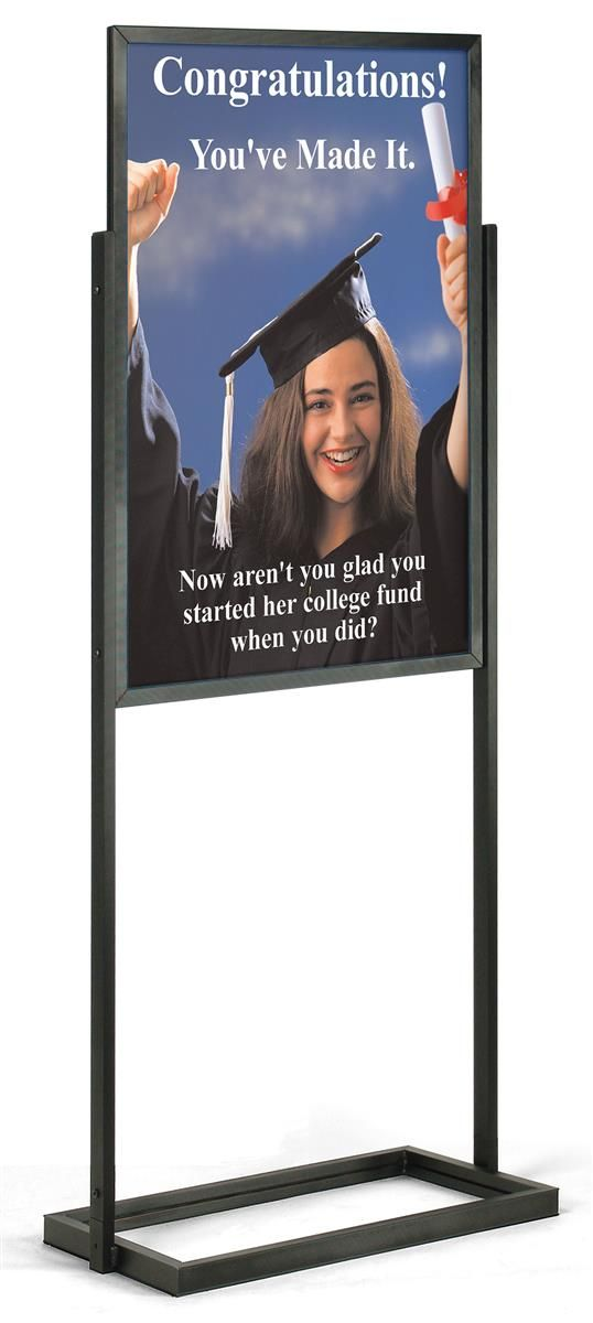 $124.40 | Double-sided, easy to load poster, plastic lens, minor assembly. 24 x 36 Poster Stand for Floor, Top Insert, Double Sided, Rectangle Base - Black or silver