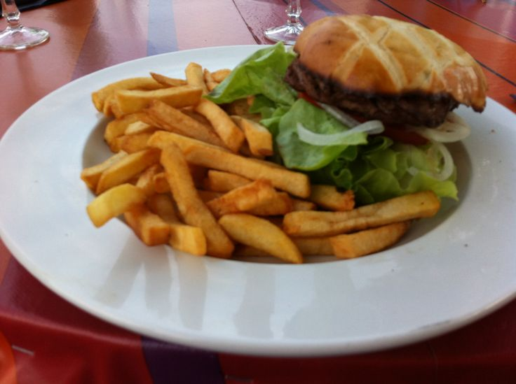 Awesome Hamburger meal in France, summer 2013, Neuvic, beautiful countryside and best company in the world :)