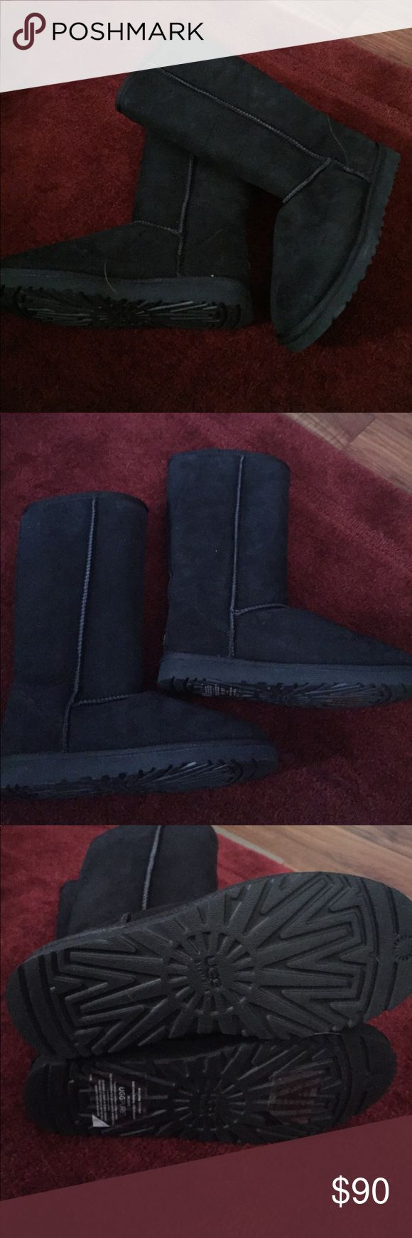 NEW UGG TALL CLASSIC BOOTS SZ 8 Black NEW BUT WAS A DISPLAY. UGG CLASSIC TALL BOOTS SIZE 8 BLACK WITH BLACK SHEARLING INSIDE UGG Shoes Winter & Rain Boots