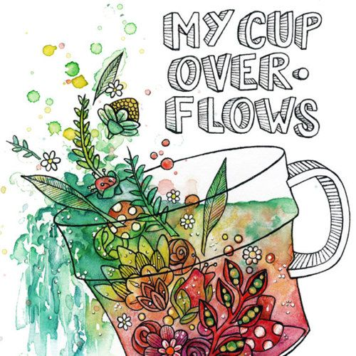 Contemporary Tea cup and Flowers--Fine Art Print--Limited Edition Watercolor…