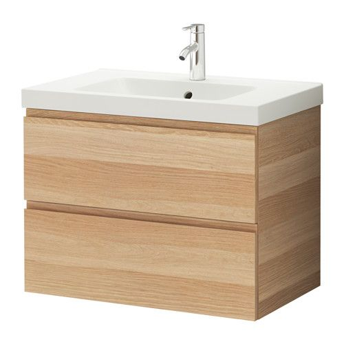 """GODMORGON / ODENSVIK Sink cabinet with 2 drawers - white stained oak effect, 31 1/2x19 1/4x25 1/4 """" - IKEA"""