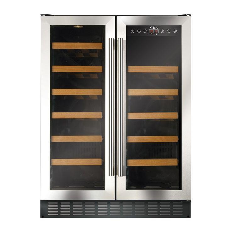 cda 600mm double door stainless steel wine cooler