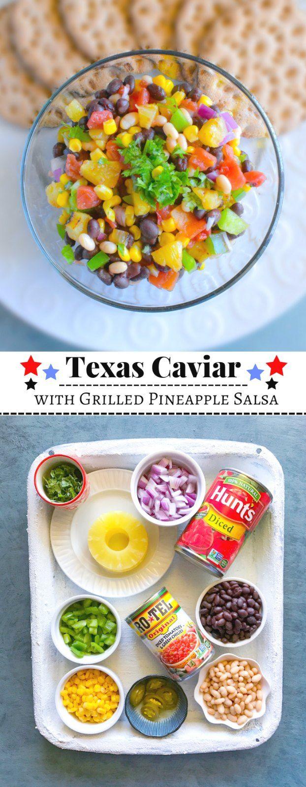 Texas Caviar with Grilled Pineapple Salsa: #texas #caviar #cowboy #ad #ServeUpSummer @roteltomatoes @huntschef @walmart