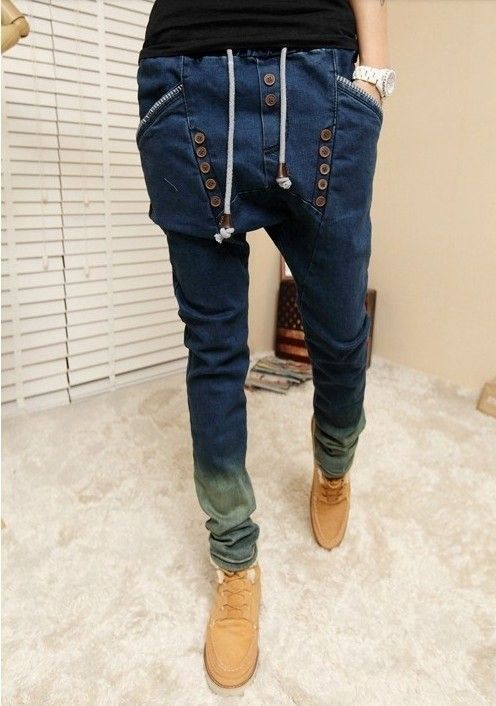 2014 Spring New Retro middlelowlevel finishing water wash strap pants male jeans harem pants male drop crotch pants men jeans
