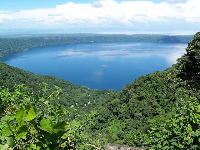 Laguna de Apoyo in Nicaragua....I, Amanda, have actually been to this one, this lookout as well as La Abuela, a hotel on the shore where you can swim in the lagoon.