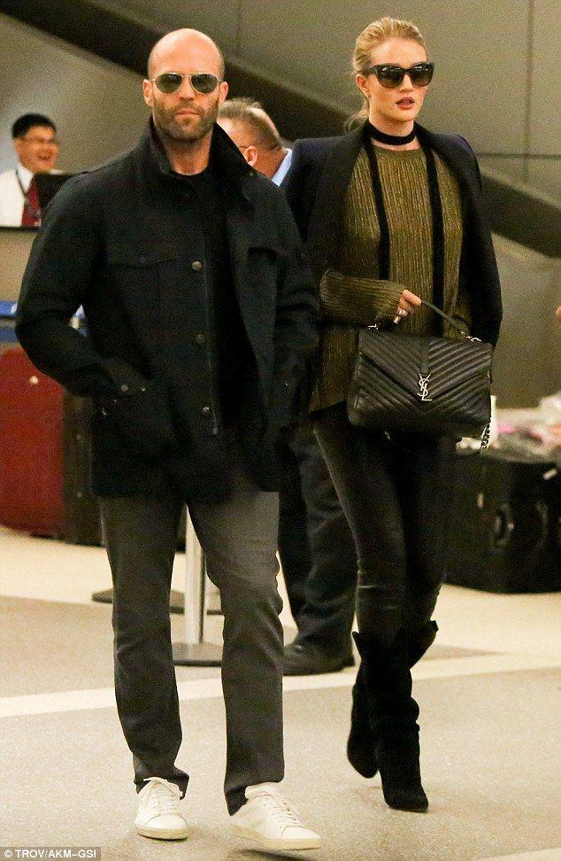 Jet set couple: Jason Statham and Rosie Huntington-Whiteley were spotted walking through t...