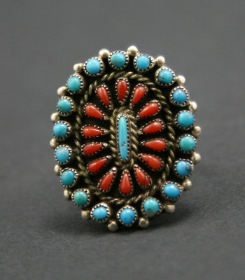B. & A. Hattie - Zuni Turquoise and Coral Petit Point and Silver Ring: Big Rings, American Jewellery, Coral Petite, Beautiful Pinboard, Small Items, Red Coral, American Jewelry, Accessories Please, Native American