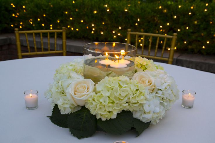 Hydrangeas roses wreath and candle centerpiece cherco