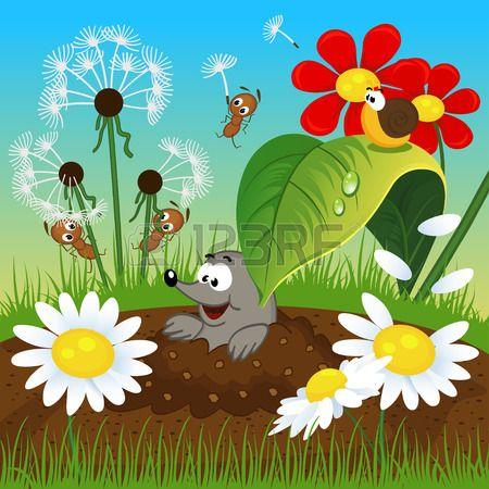 mol in de grond en insecten vector illustratie Stockfoto