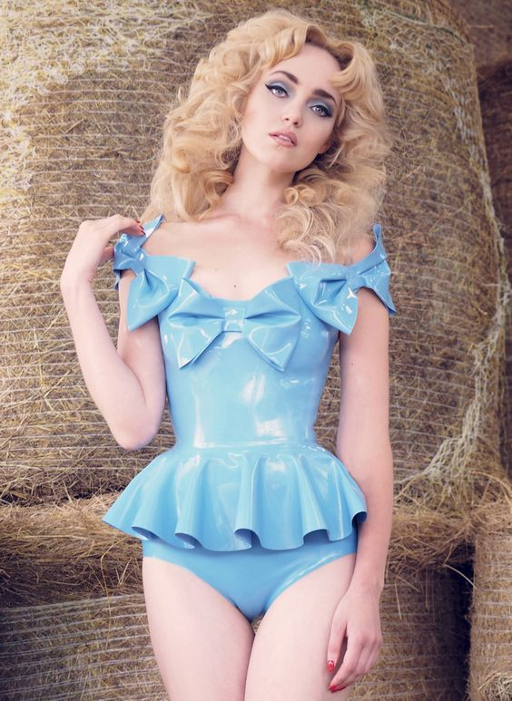 Sky blue latex bodysuit by William Wilde with peplum and three large bows across the top.  Is there anything that William WIlde makes that we don't love?