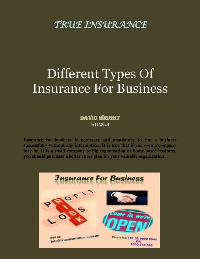 In Australia there are various insurance companies providing different types of insurance plans for your business. So you can choose any coverage plan according to your business and make secure it. To know more about different types of insurance plans of business check out this pdf or click on http://www.trueinsurance.com.au/business-insurance/