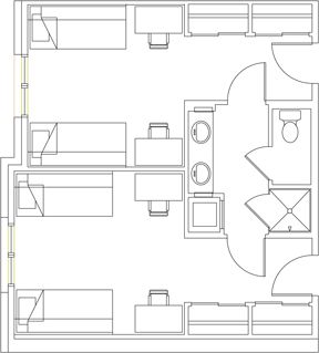 47 best images about residence halls on pinterest for Quad apartment plans