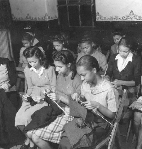 How rare to see to find a vintage photo of African-American girls knitting...precious moment