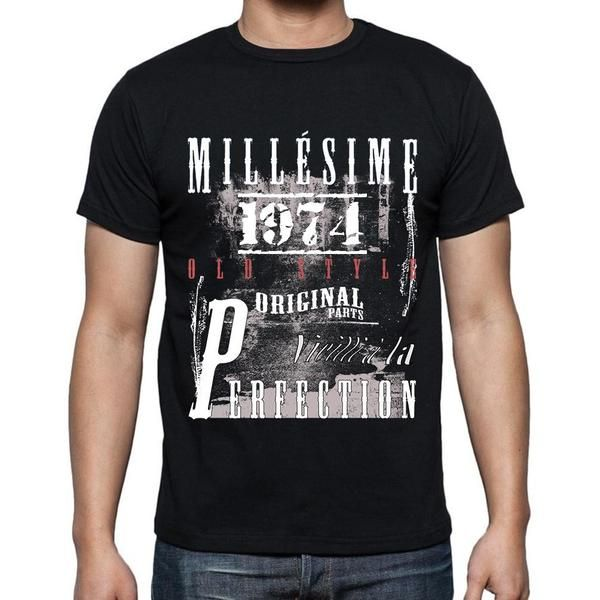 #millésime #cadeau #tshirt #homme  Souhaitez-vous ou quelqu'un un joyeux anniversaire avec un t-shirt parfait! --> https://www.teeshirtee.com/collections/fr-vintage-black-mens/products/1974-birthday-gifts-for-him-birthday-t-shirts-mens-short-sleeve-rounded-neck-t-shirt