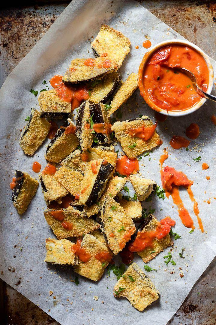 crispy cornmeal crusted eggplant with smoky harissa tomato sauce