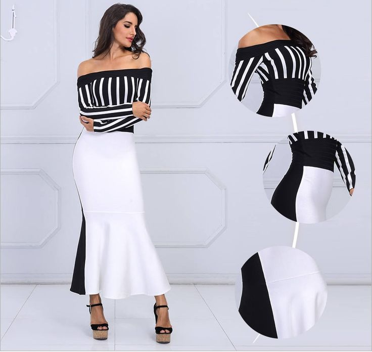 Long bodycon Dress,Tank Pencil Dress, Bandage Black & White Long Sleeves Striped Bar Neck Evening Dress Evening Dresses, cheap bodycon dress