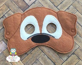 Perro la máscara, los niños de vestir máscara, perro máscara de disfraces, máscara de mezcla de lana, fieltro perro máscara, Favor fiesta selva, máscara de mono