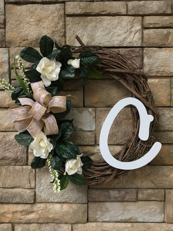 Southern Magnolia Silk Monogram Wreath Magnolia Front Door Wreath
