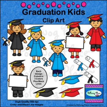 Graduation Kids Clip Art - 24 colorful images plus black lines. ($)