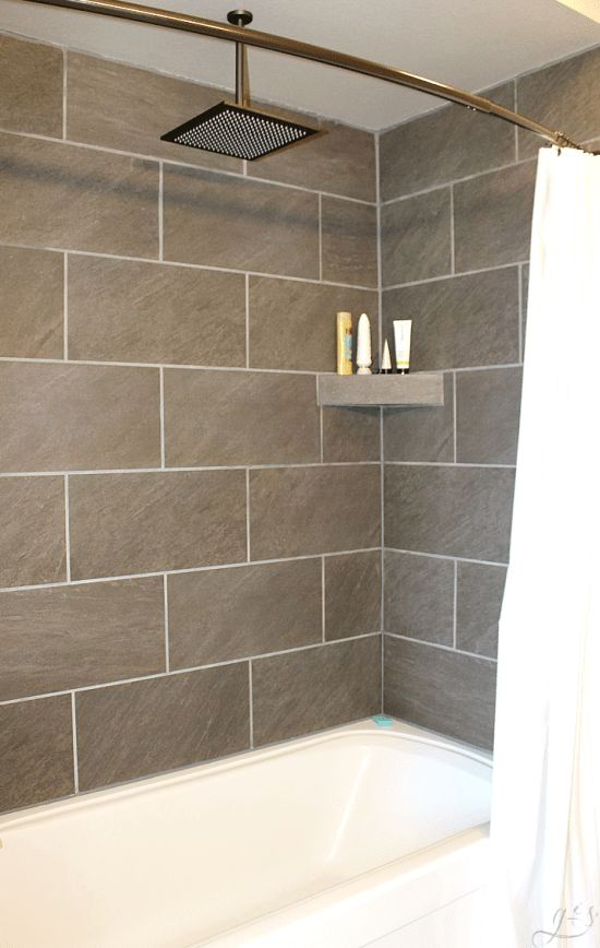 Diy How To Tile A Shower Surround With Tub These Grey Ceramic