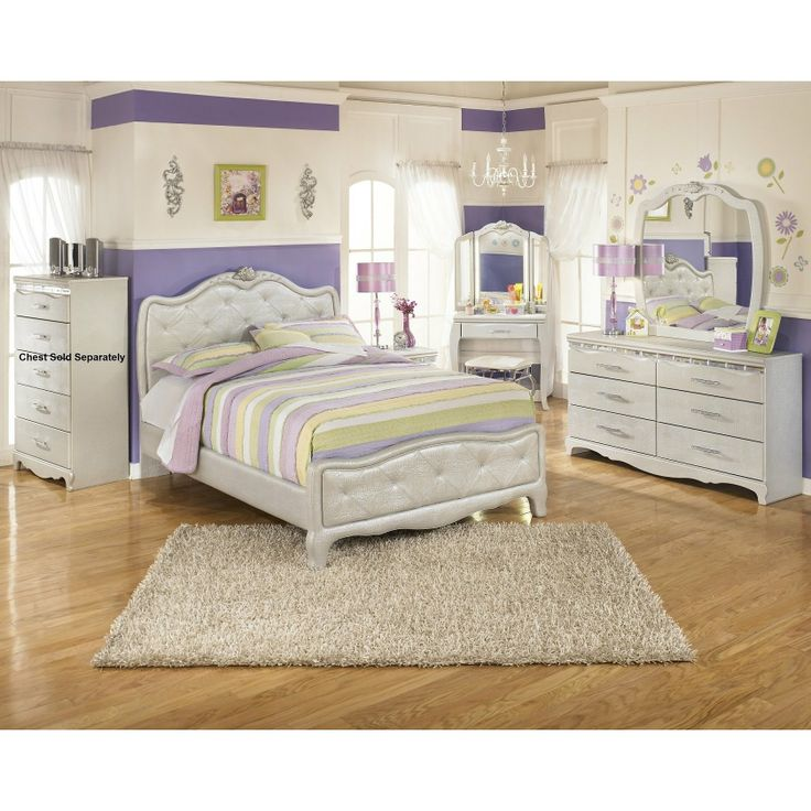 Furnituremaxx Julia Silver And Pear Girl S Full Size Bedroom Set