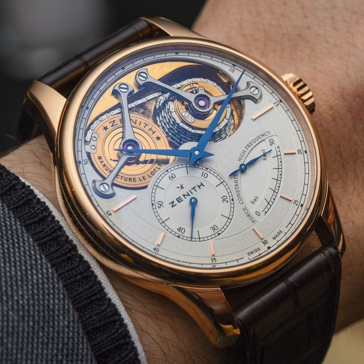 """Zenith Academy George Favre-Jacot Watch With Fusee And Chain Hands-On - by Rob Nudds - on aBlogtoWatch.com """"In 1865, the 22 year old Georges Favre-Jacot founded Zenith, and this year marks the 150th anniversary of this important manufacture. In commemoration, the brand has created the Zenith Academy Georges Favre-Jacot watch, and with it, Zenith has produced something befitting its founder's genius, while staying true to the modern stylistic characteristics of the brand..."""""""
