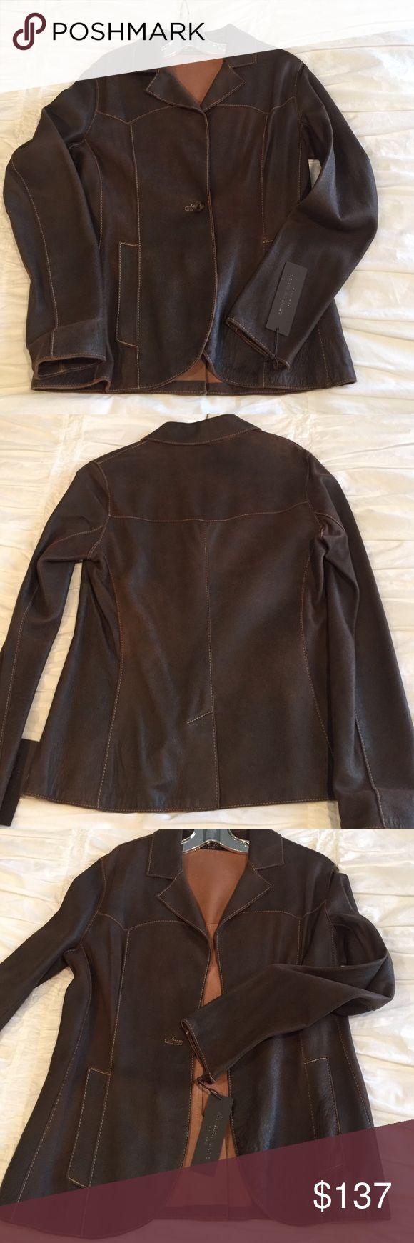 Andrew Marc leather blazer Andrew Marc brown leather-blazer with stitching never worn Andrew Marc Jackets & Coats Blazers