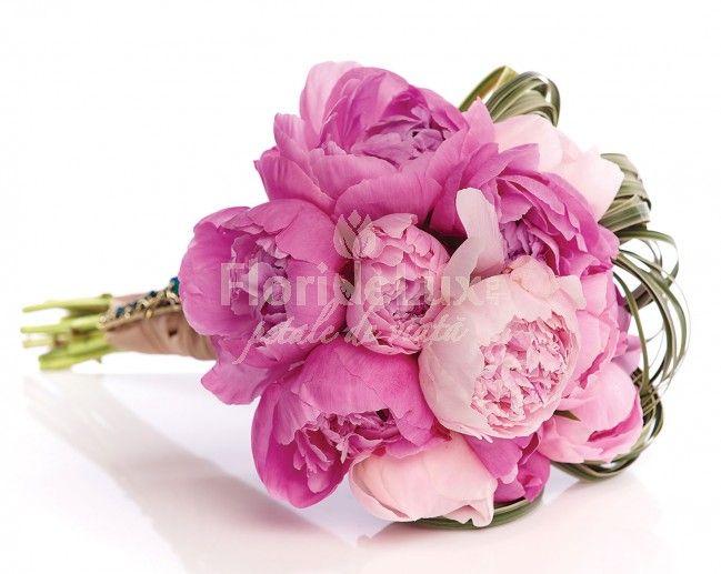 Buchet de mireasa bujori roz romantici
