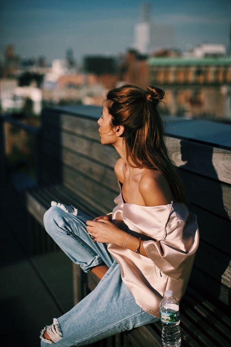 Pink silk + bf denim