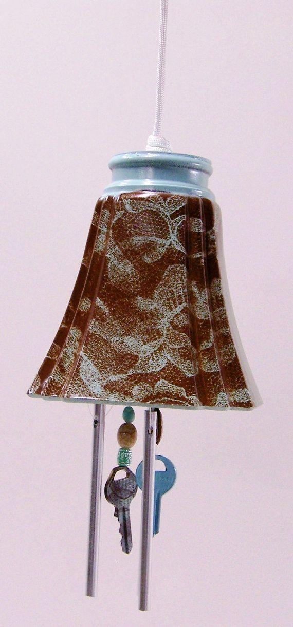 Blue Brown Light Shade Windchime Glass Globe Wind by handcreated4u