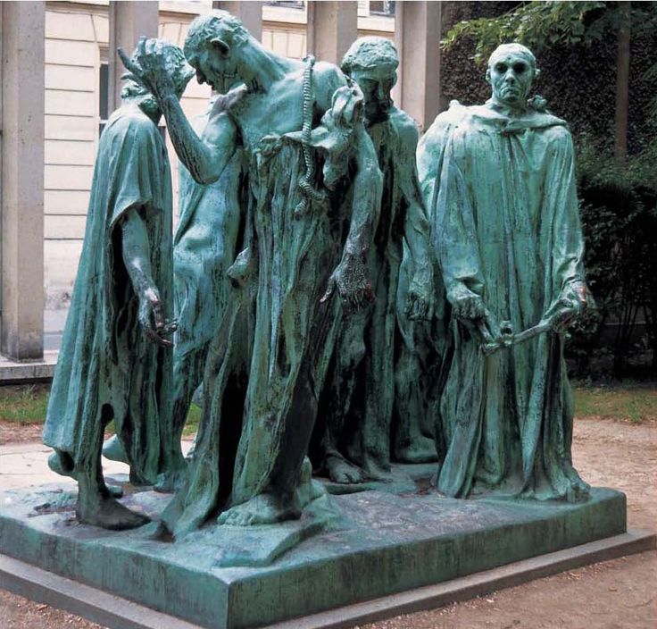 Auguste Rodin - Burghers of Calais, 1888, presents Rodin's modernist response to public sculpture. Based on events from 1347 during the Hundred Years' War. The city of Calais was under siege by the English for over a year. Facing starvation, the city agreed to a surrender to the English forces. King Edward offered to spare the city if any of six leading citizens of Calais gave themselves up.