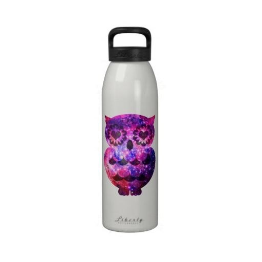 Girly Retro Heart Owl Pink Teal Nebula Galaxy Reusable Water Bottles