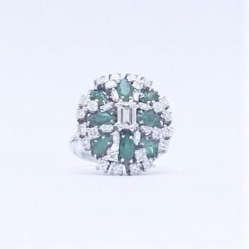 Vintage Emerald and Diamond Cluster Ring.