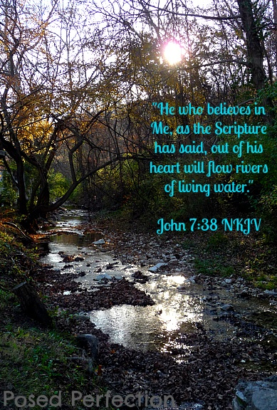 John 7:38 - today's verse..I have always been the encourage the helper the listener and the fixer. I have been severely taken advantage of in life but that's ok :) I'll keep doing what God says and enjoy helping others!