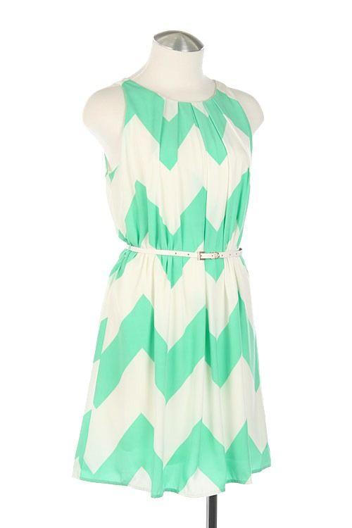 Mint Chevron Dress w/ Belted Waist-mint dress, chevron dress, mint chevron dress