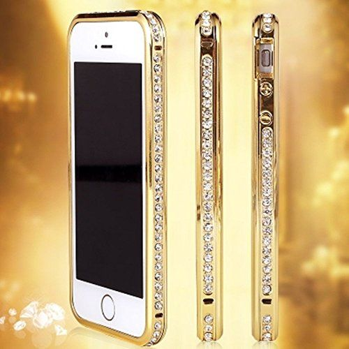 Luxury Diamond Crystal Rhinestone Bling Metal Frame Bumper Case Cover for Iphone 6 (4.7-inch) (Gold)