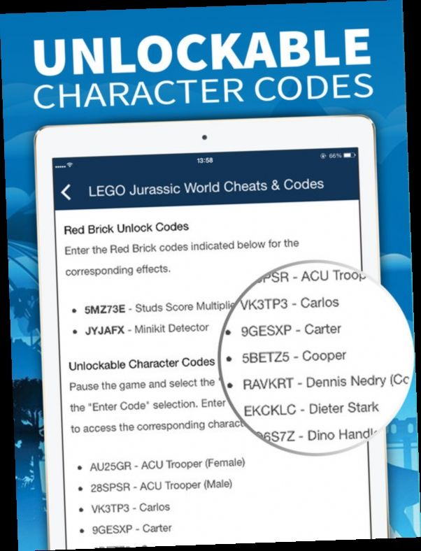 Lego Jurassic World Codes