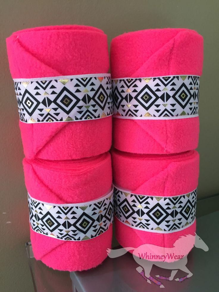 Neon pink polo wraps with Aztec trim  Www.Whinneywear.Com
