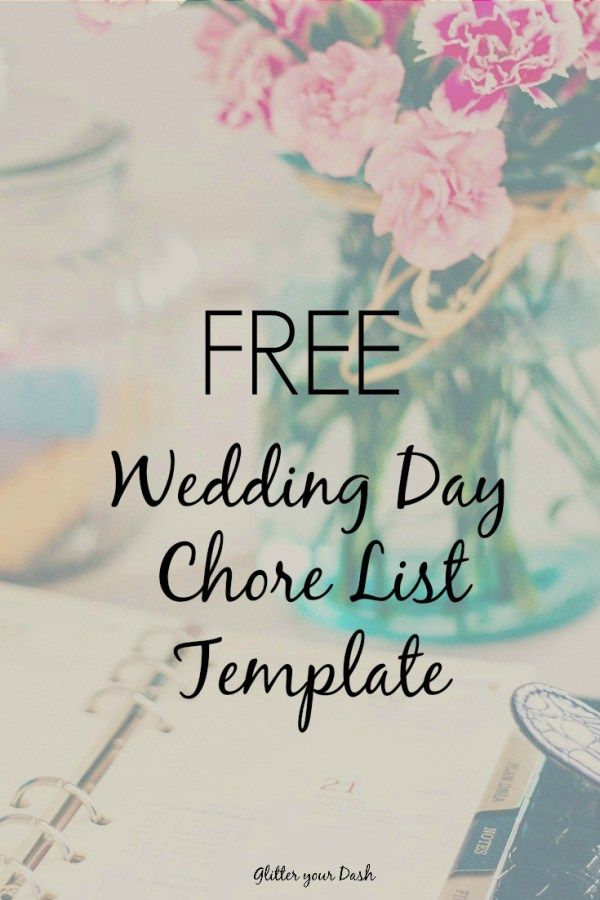 wedding planning checklist spreadsheet free%0A Glitter your Dash  Wedding Day Chore List Template